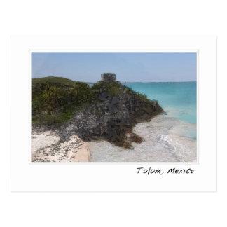 Cartão maia do oceano da ruína de Tulum México