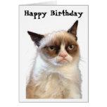 Cartão mal-humorado do feliz aniversario do gato