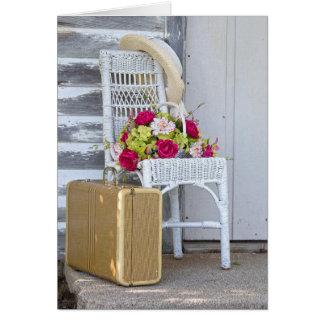 Cartão mala de viagem adeus-retro e flores