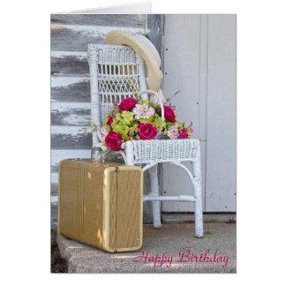 Cartão mala de viagem aniversário-retro e flores