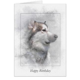 Cartão Malamute Aniversário-Do Alasca na máscara