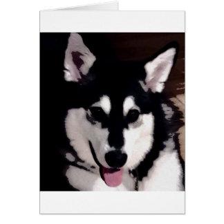 Cartão Malamute do Alasca de sorriso preto e branco