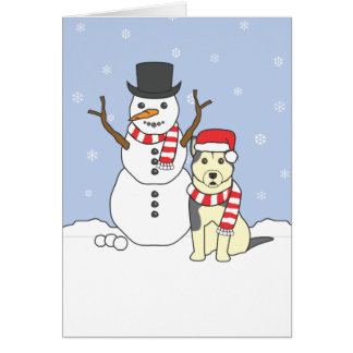 Cartão Malamute do Alasca e boneco de neve