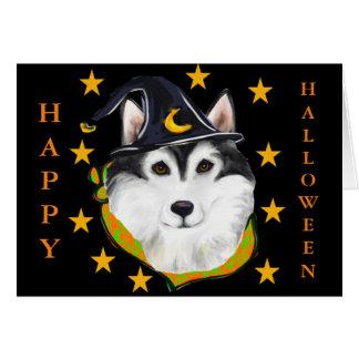 Cartão Malamute do Alasca o Dia das Bruxas