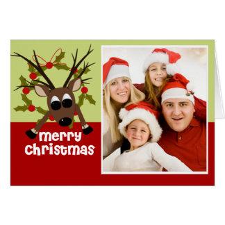 Cartão maluco da foto do Natal da rena do