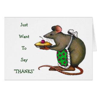 Cartão Mama bonito Rato Com Torta: Tiragem: Obrigado