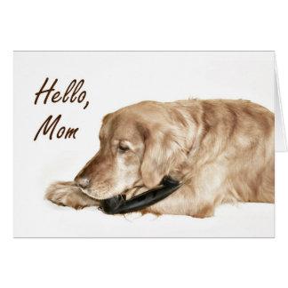 Cartão Mamã da chamada do golden retriever