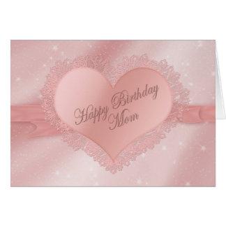 Cartão Mamã do aniversário - coração delicado delicado