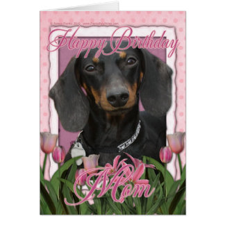 Cartão Mamã do feliz aniversario - Dachshund - Winston