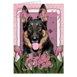 Cartão Mamã do feliz aniversario - german shepherd - Kuno