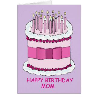Cartão Mamã do feliz aniversario, grande bolo