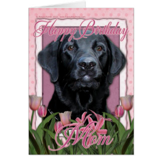 Cartão Mamã do feliz aniversario - Labrador - preto -