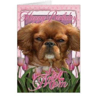 Cartão Mamã do feliz aniversario - rei Charles Cavalier -