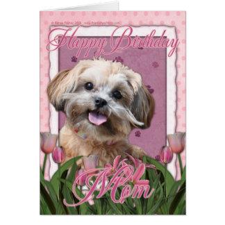 Cartão Mamã do feliz aniversario - ShihPoo - Maggie