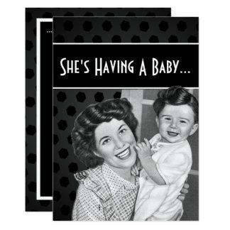 Cartão Mamã do vintage e chá de fraldas preto e branco da