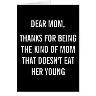 Cartão Mamã dos obrigados engraçada