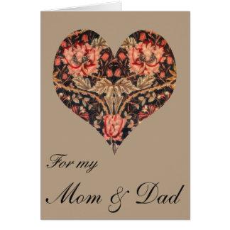Cartão Mamã floral do vintage & namorados do pai