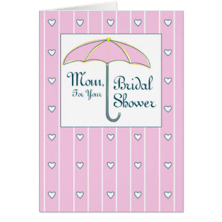 Cartão Mamã, guarda-chuva cor-de-rosa do chá de panela