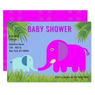 Cartão Mamã magenta do elefante   do bebê que beija o chá