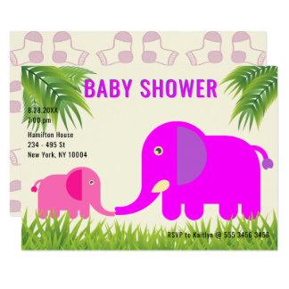 Cartão Mamã magenta do rosa   do elefante do bebê que