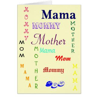 Cartão Mamã, Mama, mãe, mamãe