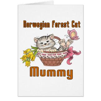 Cartão Mamã norueguesa do gato do gato da floresta