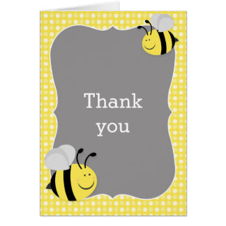 Cartão Mamães ao obrigado do chá de fraldas da abelha