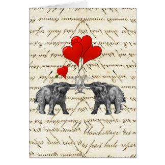 Cartão Mammoths e corações do vintage