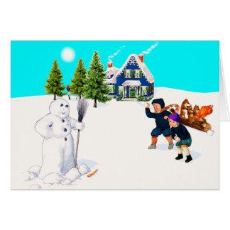 Cartão Manche o jogo da luta do Snowball do boneco de