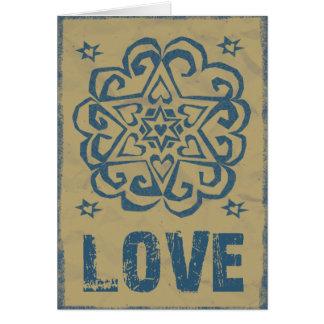 Cartão Mandala afligida do amor das estrelas dos corações