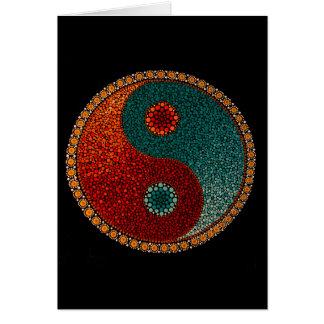 Cartão Mandala pintado mão de Yin Yang