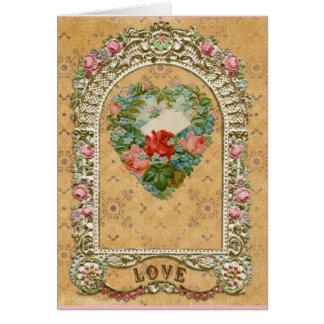 Cartão Mandril cor-de-rosa do Victorian do amor