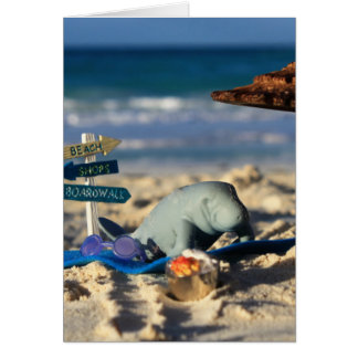 Cartão Manfred o peixe-boi na praia
