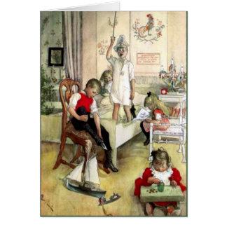 Cartão Manhã de Natal de Carl Larsson na suecia