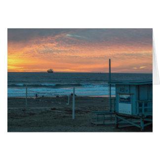 Cartão Manhattan Beach no por do sol da praia do EL Porto