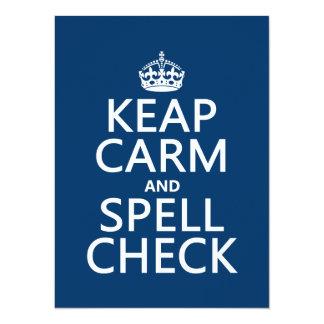 Cartão Mantenha a calma e a verificação de período (com