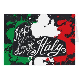 Cartão Mantenha a calma e ame Italia
