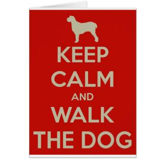 Cartão Mantenha a calma e ande o cão