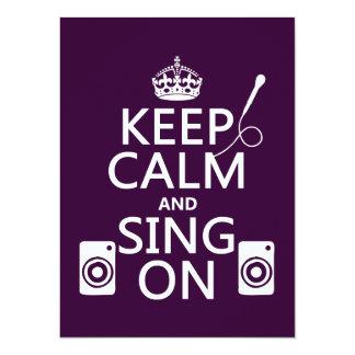 Cartão Mantenha a calma e cante-a em (o karaoke)