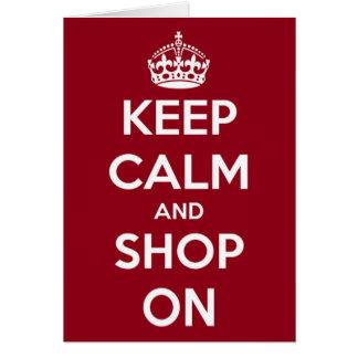 Cartão Mantenha a calma e comprar em vermelho e em branco