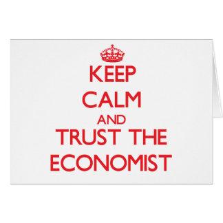 Cartão Mantenha a calma e confie o economista
