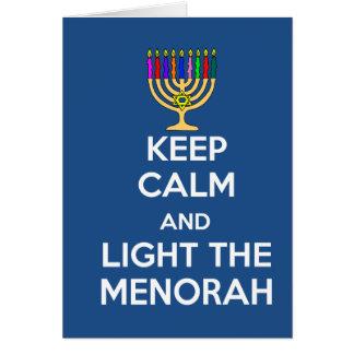 Cartão Mantenha a calma e ilumine o Menorah