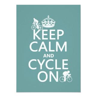 Cartão Mantenha a calma e o ciclo em (em alguma cor)