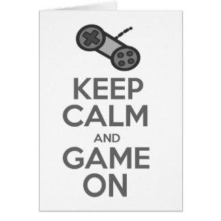 Cartão Mantenha a calma & o jogo sobre