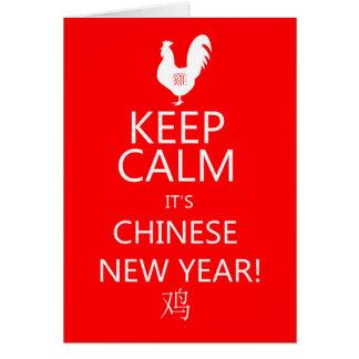 Cartão Mantenha a calma que é ano novo chinês, ano da