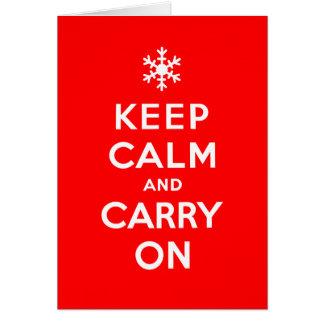 Cartão Mantenha calmo e continue feriados