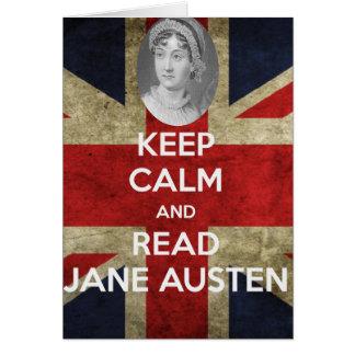 Cartão Mantenha calmo e leia Jane Austen