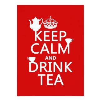 Cartão Mantenha chá calmo e da bebida - todas as cores