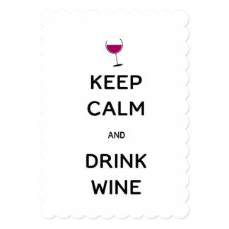 Cartão Mantenha vinho calmo e da bebida
