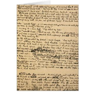 Cartão Manuscrito do original da canção de natal do Natal